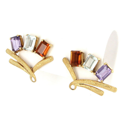 Pair of 18K Yellow Gold, Amethyst, Citrine, and Aquamarine Ear Clips, 20th century