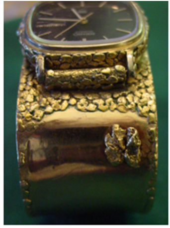 "Ladies 10K Gold Nugget Cuff Style Bracelet and Wristwatch, Quartz ""DayDate"" model by Seiko, Japan, ca. 1980s"