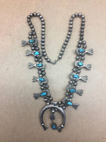 "Navajo Turquoise and Silver Squash Blossom Necklace, probably Beverly Thomas, ca. 1950, stamped on the naja ""B T"""