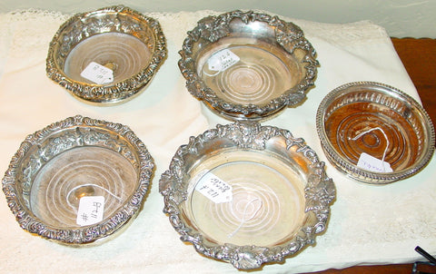 Five Silver-Plated Wine Coasters,19th and 20th centuy