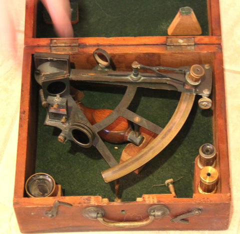 "American Oxidized Brass ""T"" Framed Nautical Sextant,  manufactured by John Bliss & Co., New York, ca. 1890, in fitted box"