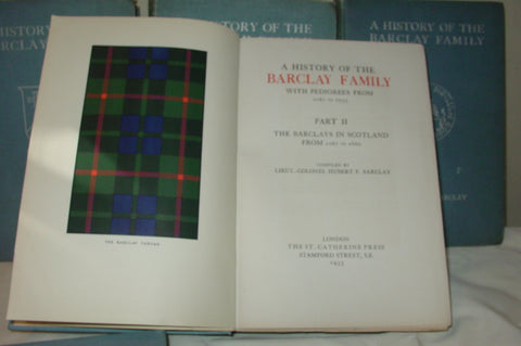 History of the Barclay Family with Pedigrees, 1067 to 1933, Three volumes in five parts, St. Catherine Press: London, 1924-1933, first edition