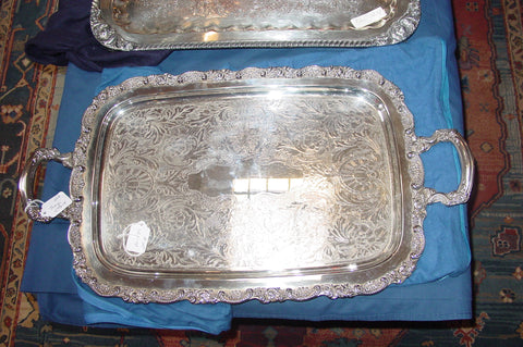 Two Silver- Plated Oblong Two-Handled Trays, early 20th century