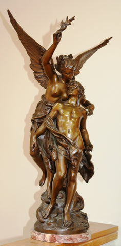 "After Mathurin Moreau (French, 1822-1912), ""Immortality"", patinated bronze figural group on pink marble base"
