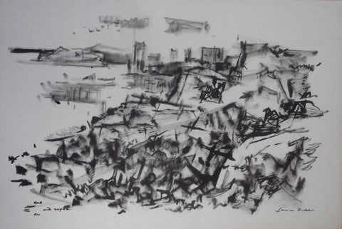 "Lamar (William) Dodd (American, 1909-1996), ""Untitled"", pen and brush ink drawing on paper, signed and dedicated"