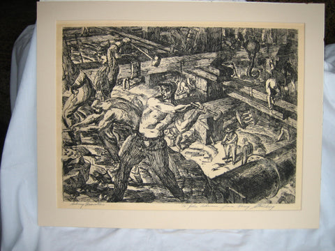 "Harry Sternberg (American, 1904-2001) ""Subway Excavation"", etching, 1929, signed and dedicated"