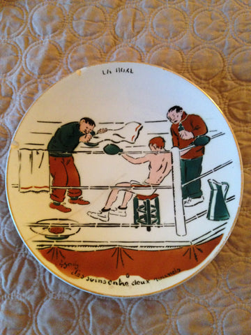 "Set of Eight French Faience ""La Boxe"" Plates,  after sporting illustrations by Charles Genty (French, 1876-1956), ca. 1910"