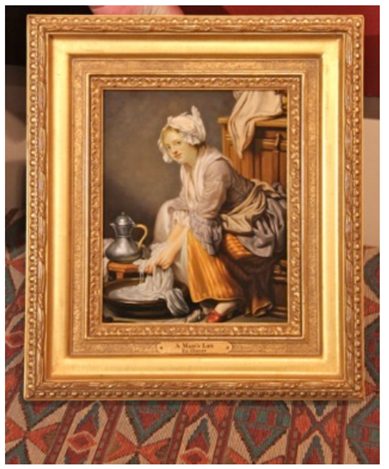 "Ed Copley (American, b. 1944), ""A Maid's Life"", oil on copper, 20th century, signed"