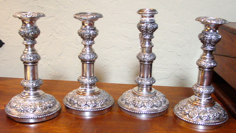 Set of Four English Silver-Plated Telescoping Candlesticks, early 19th century
