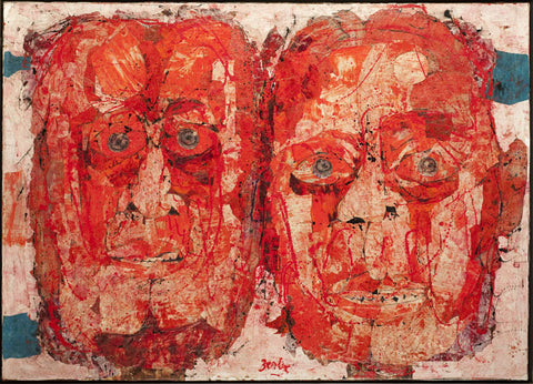 "Karl Zerbe (American, 1903-1972), ""Two Red Masks"", acrylic and collage"