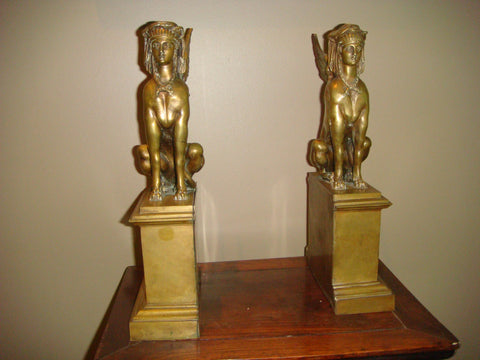 Pair of Continental Bronze Bookends, 19th century