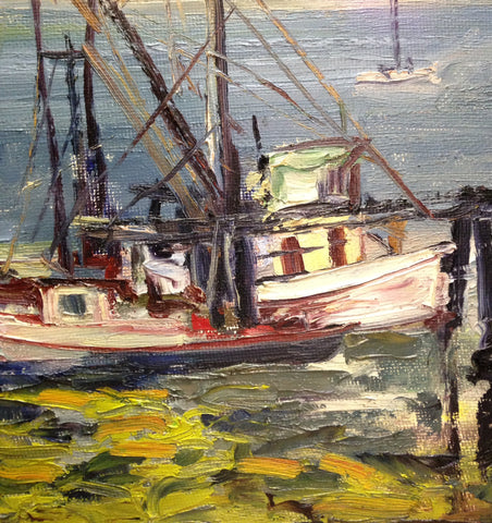 Charles Bell (American, 20th Century), Fishing Boats in San Francisco Bay, oil on fiberglass board