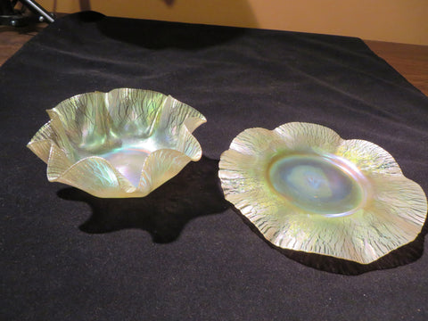 "Tiffany Iridescent Favrile Glass Finger Bowl and Underplate, ca. 1900, marked ""L. C. T."""