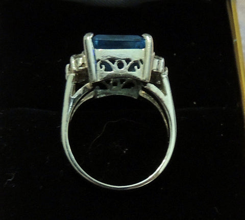 14K White Gold, Diamond and Blue Topaz Ring, contemporary