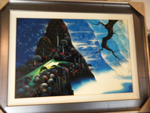 "Eyvind Earle (American, 1916 - 2000), ""God's Country"", 1998, oil on masonite, signed"