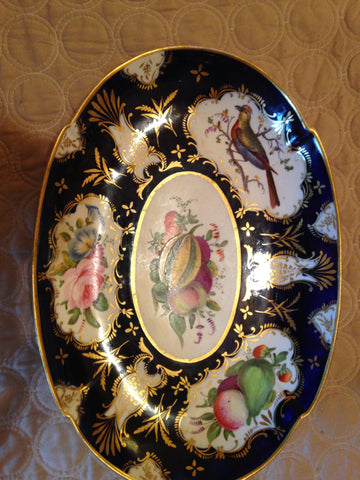 Two Worcester Style Hand Painted and Gilded Oval Bowls,   late 18th century and later