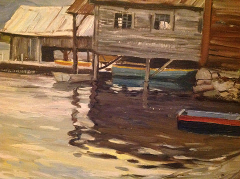 George Cherepov (American/Lithuanian, 1909-1987), Boathouses, ca. 1960s, oil on canvas board, signed