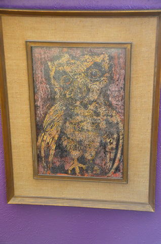 Karl Zerbe (American, 1903-1972), Owl, acrylic on canvas, signed, 20th century