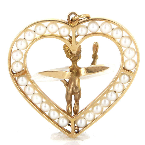 14K Gold and Pearl Heart and Cherub Pendant, 20th century