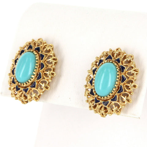 Pair of 18K Yellow Gold, Turquoise, and Enamel Earrings,  20th century