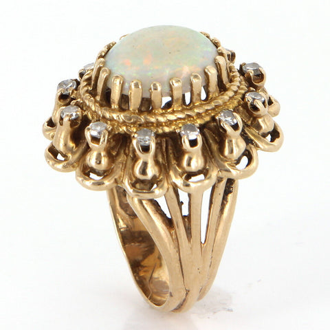 14K Gold, Diamond, and White Opal Cocktail Ring, 20th century