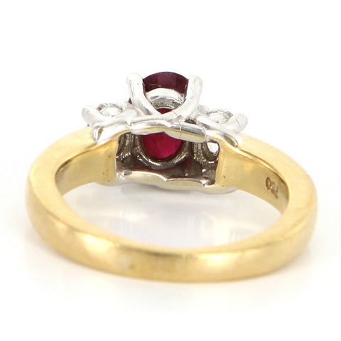 18K Gold, Ruby, and Diamond Three Stone Ring. contemporary