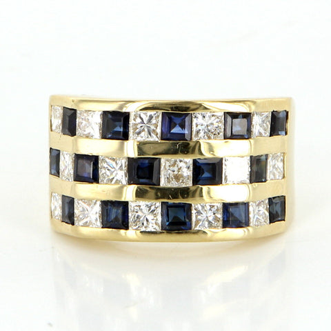 Men's 14K Gold, Diamond and Sapphire Dress Ring, contemporary