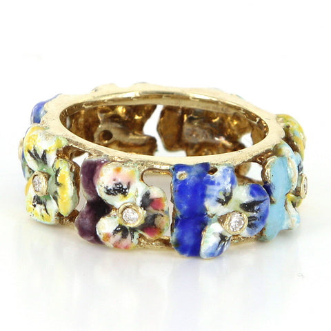 14K Yellow Gold, Diamond and Enamel Pansy Ring, 20th century