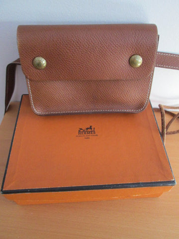 Hermès Brown Leather Waist Bag Pochette and Belt With gold tone logo hardware, last quarter 20th century, with original box