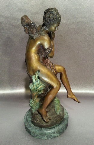 After Mathurin Moreau (French, 1822-1912), Ondine, patinated cast bronze figure on marble base, signed