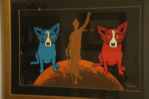 "George Rodrigue (American, 1944-2013), ""Equal Justice - Black"", 1994, screenprint in colors, signed and numbered 19/50"
