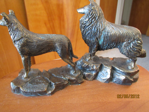 "Bronze Animalier Group of Two Collies, after P. Gardiner, cast sculpture on wooden plinth, numbered ""19/200"""