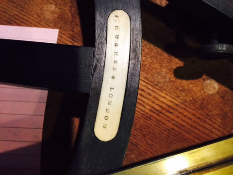 J. Hughes, London, Ebony Octant, in fitted oak case made for the American market, retailed by Henry Mayo, Boston