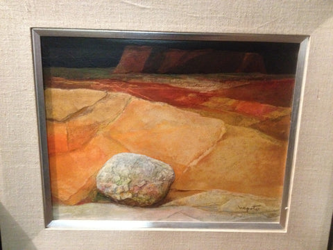 "Alexander Nepote (American, 1913-1986), ""On Desert Terrain - Alone"", mixed media on masonite, signed"