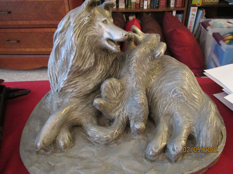 After Carol Baynton Phelps (American, 20th Century), Collie with Pup, pewter-finish cast metal sculpture, ed. 1/5