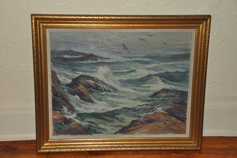 "Alfred Hermann Schroff (American, 1863-1939), ""The Angry Sea - Point Joe, Monterey"", 1923, oil on canvas, signed and dated"