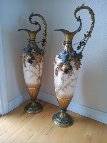 Pair of Continental Ormolu-Mounted Ceramic Large Ewers, 20th century