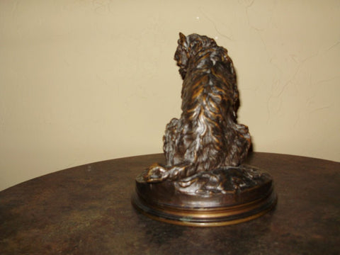 "After Pierre Jules Mene (French, 1810-1879), ""Chien Griffon Assis"", bronze figure of a seated griffon dog, signed in the cast"
