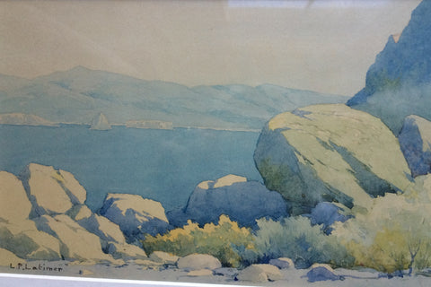"Lorenzo Palmer Latimer (American, 1857-1941), ""Pyramid Lake, Nevada"", watercolor on paper, signed"