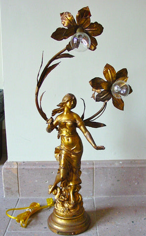 "Auguste Moreau (French, 1834-1917), ""Hirondelle"", a figural two-light gilt bronze lamp, 20th century, signed"