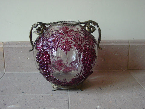 French Two-Handled Cranberry Overlay Glass Bowl