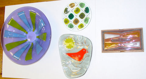 Four Pieces of American Modern Art Glass, made by Higgins Glass, mid 20th century