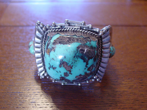 Native American Silver and Turquoise Cuff Bracelet, by R.B.A, 20th century