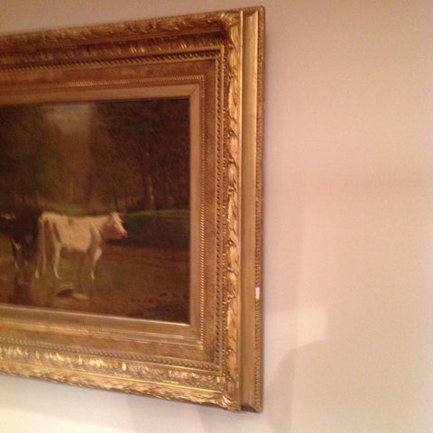 Clinton Loveridge (American, 1838 - 1915), Cows in a River Landscape, oil on canvas, signed and framed
