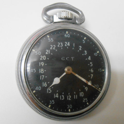 "Military Chromed-Nickel 24-Hour Navigational Pocket Watch, ""Navigational Master GCT"", model 4992B, Hamilton, Lancaster, PA, ca.1942"