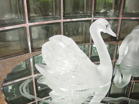 Pair of Lalique Frosted Glass Swans on Mirrored Plateau, French, 20th century