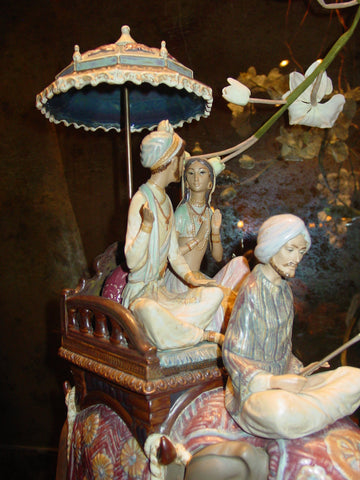 "Spanish Polychrome Porcelain Figural Group, ""Road to Mandalay"", designed by Vicente Martinez, made by Lladro—, ca. 1983"