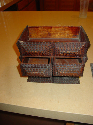 American Tramp Art Carved Wooden Box, 20th century