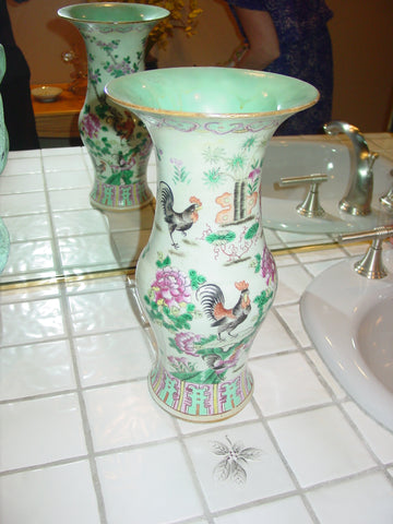 Chinese Famille Verte Porcelain Baluster Form Vase, early 20th century