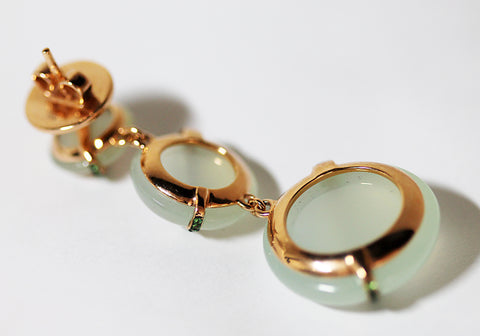 18K Rose Gold, Green Quartz, and Tsavorite Pendant Earrings, Italian, 21st century